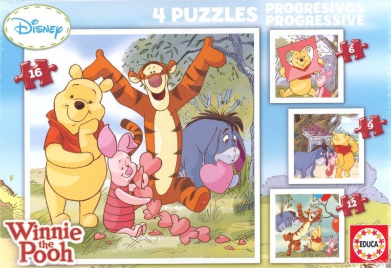 EDUCA Puzzle Medvídek Pú a přátelé 4v1 (6,9,12,16 dílků)