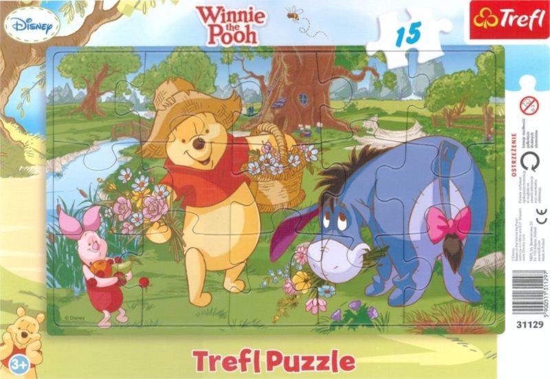 TREFL Puzzle Medvídek Pú: Květiny 15 dílků