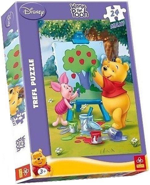 TREFL Puzzle Medvídek Pú: Malování obrazu MAXI 24 dílků