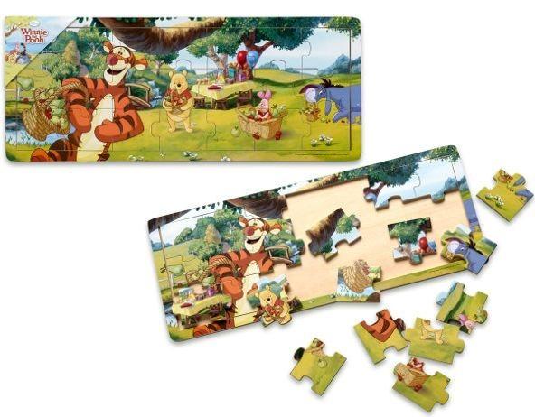 Dřevěné puzzle Medvídek Pú: Piknik 21 dílků