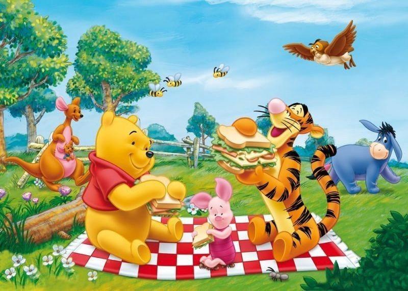 CLEMENTONI puzzle Medvídek Pú Piknik na louce 104 dílků