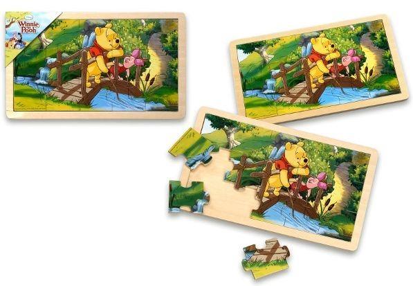 Dřevěné puzzle Medvídek Pú s prasátkem na mostě 15 dílků
