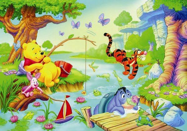 CLEMENTONI Puzzle Medvídek Pú: Veselé rybaření FLOOR 40 dílků