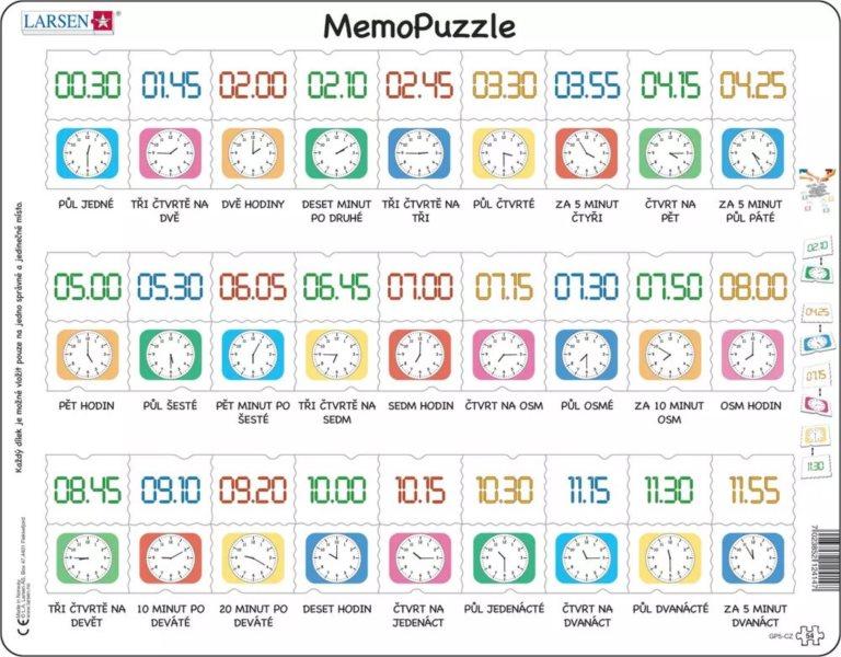 LARSEN MemoPuzzle Hodiny 54 dílků