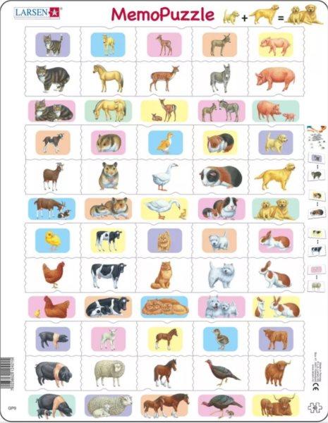 LARSEN MemoPuzzle Zvířátka 40 dílků
