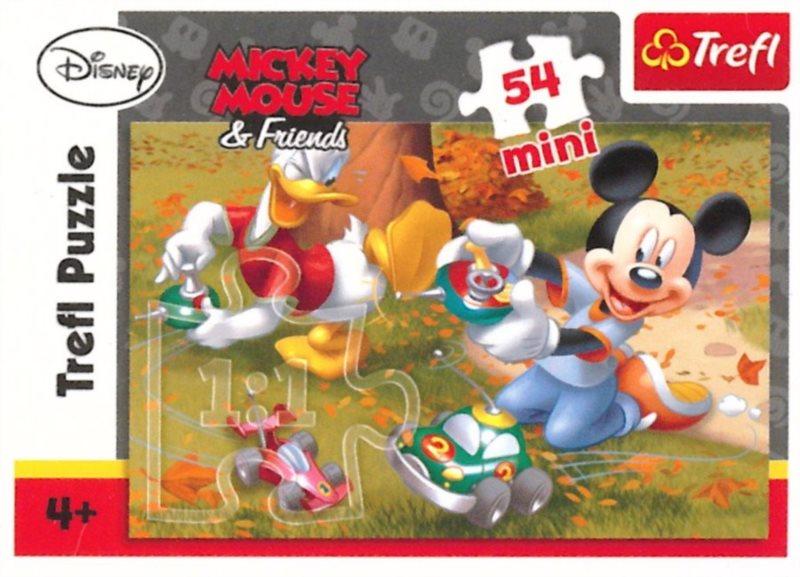 Dětské puzzle TREFL 54 dílků - Mickey Mouse: Autíčka
