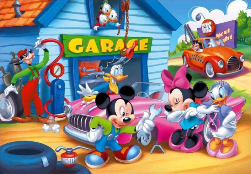 CLEMENTONI puzzle Mickey Mouse Garáž 104 dílků