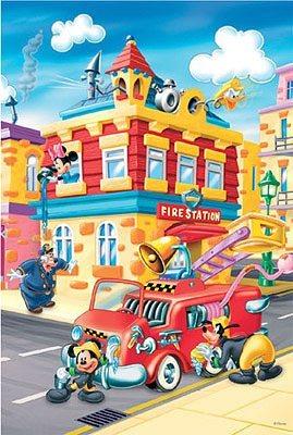 Maxi puzzle pro děti TREFL 24 dílků - Mickey Mouse: Požární stanice