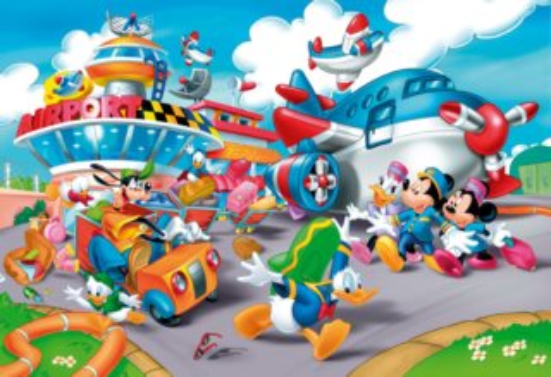 CLEMENTONI Puzzle Mickey Mouse: Zmatek na letišti FLOOR 40 dílků