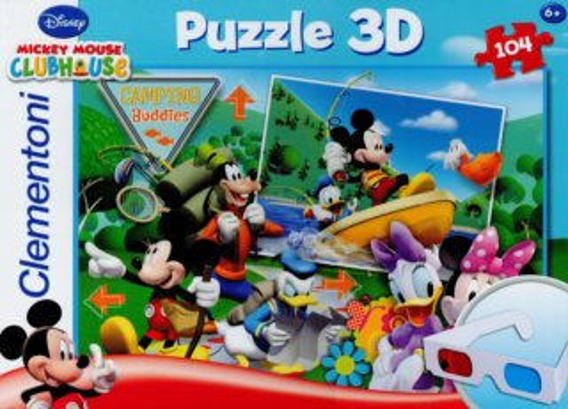 Dětské puzzle + 3D brýle - CLEMENTONI Mickeyho klubík: Kempování s kamarády, 104 dílků