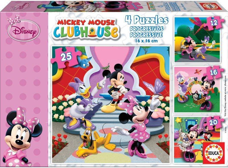 Puzzle pro děti 4v1 EDUCA - Minnie (12-25 dílků)