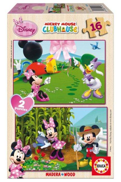 Dřevěné puzzle EDUCA - Mickeyho klubík: Minnie 2x16 dílků
