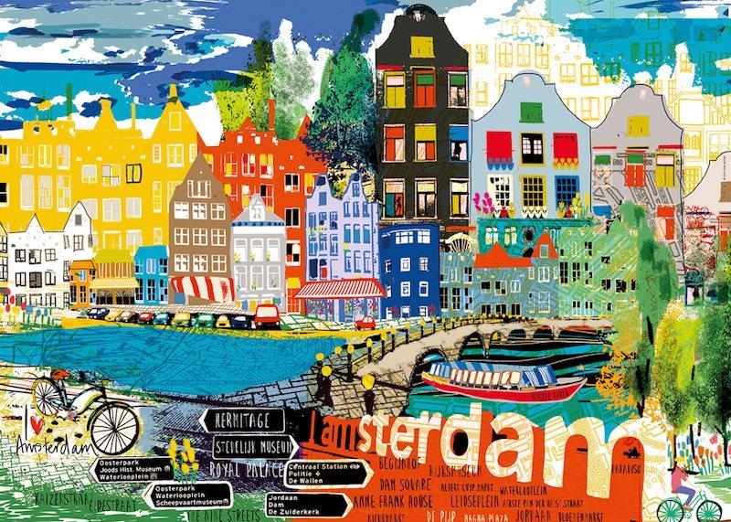 Puzzle HEYE 1000 dílků - Miluji Amsterdam!