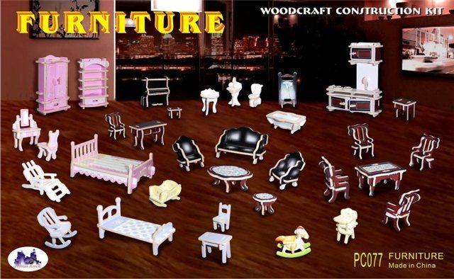 WOODEN TOY , WCK 3D puzzle Mini nábytek barevný