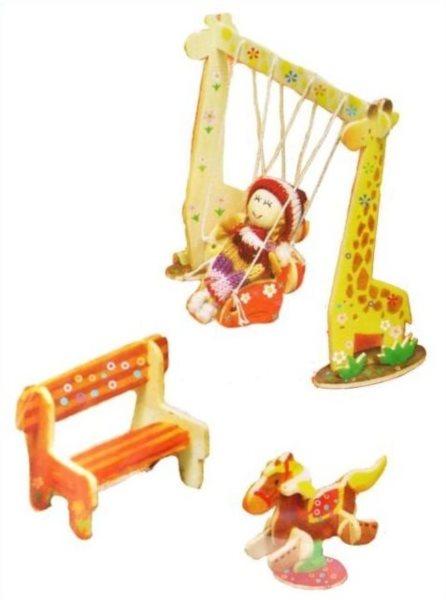 3D dřevěné puzzle Park s panenkou a barvičkami