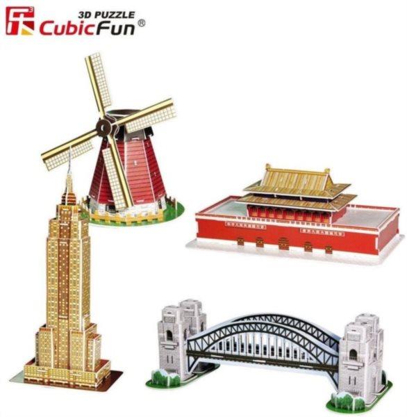 CUBICFUN poškozený obal: 3D puzzle Miniarchitektura 3 - Proslulé památky 100 dílků