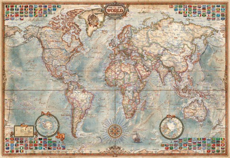 EDUCA Miniaturní puzzle Politická mapa světa 1000 dílků