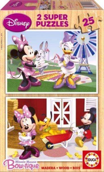Dřevěné puzzle EDUCA - Minnie a mazlíčci 2x25 dílků