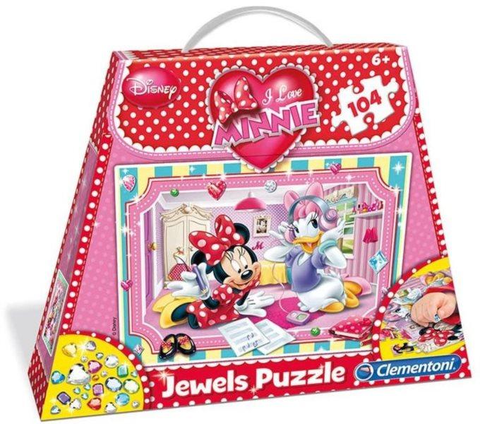 CLEMENTONI Puzzle s drahokamy Minnie miluje klenoty 104 dílků