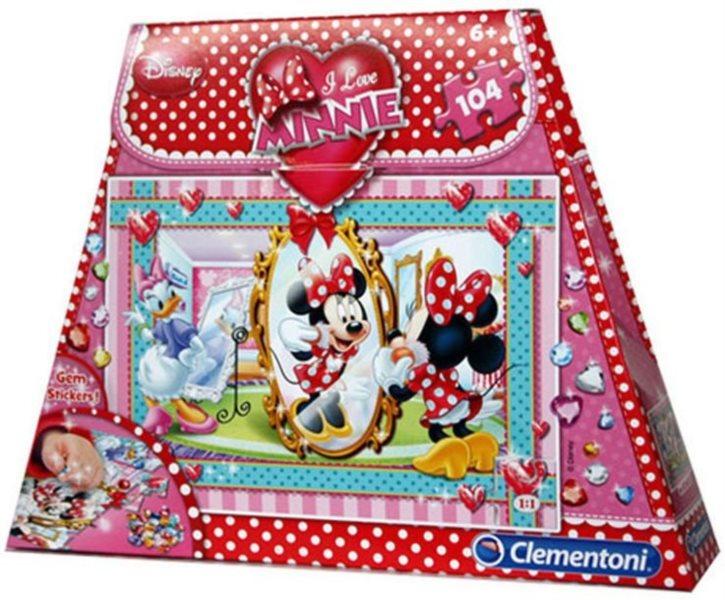 CLEMENTONI Puzzle s drahokamy Minnie před zrcadlem 104 dílků