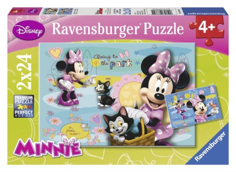 RAVENSBURGER Puzzle Minnie s ptáčkem a koťátkem 2x24 dílků