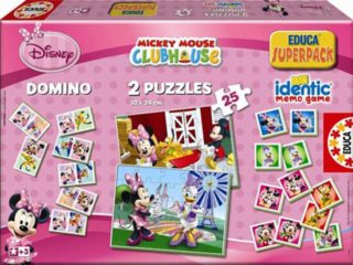 EDUCA SuperPack Minnie Mouse 4v1 - 2x puzzle, domino a pexeso
