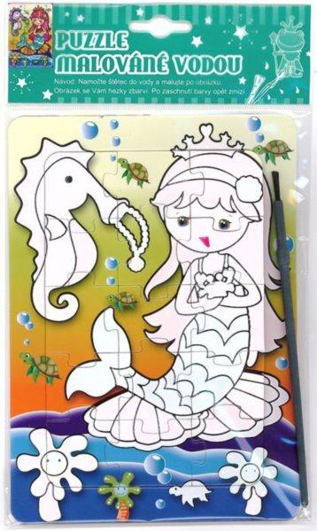 Puzzle s vodním malováním 15 dílků - Mořská víla