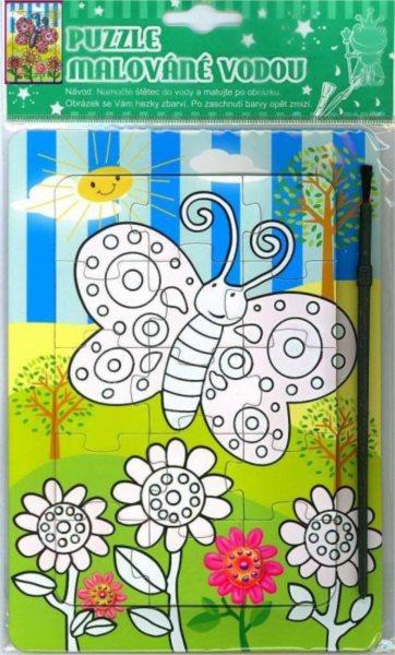Puzzle s vodním malováním 15 dílků - Motýl