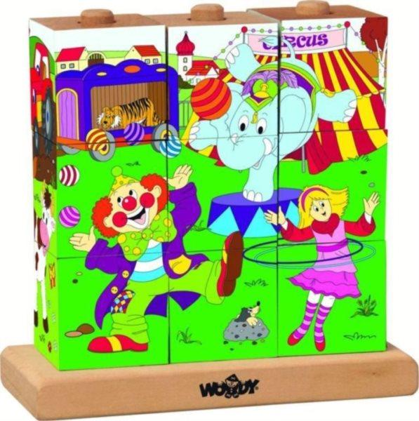 WOODY Dětské nasouvací kostky Cirkus