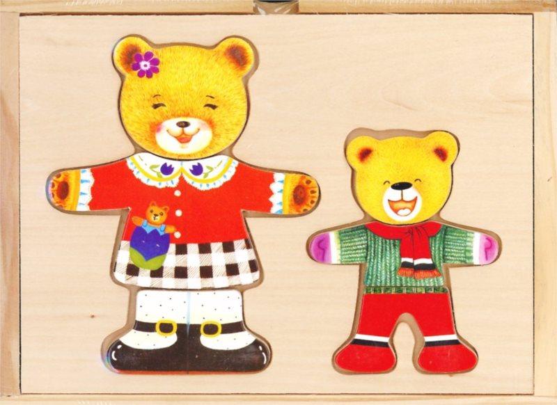 Šatní skříň BINO 88023 Medvědice s medvídkem - Dřevěná oblékací skládačka