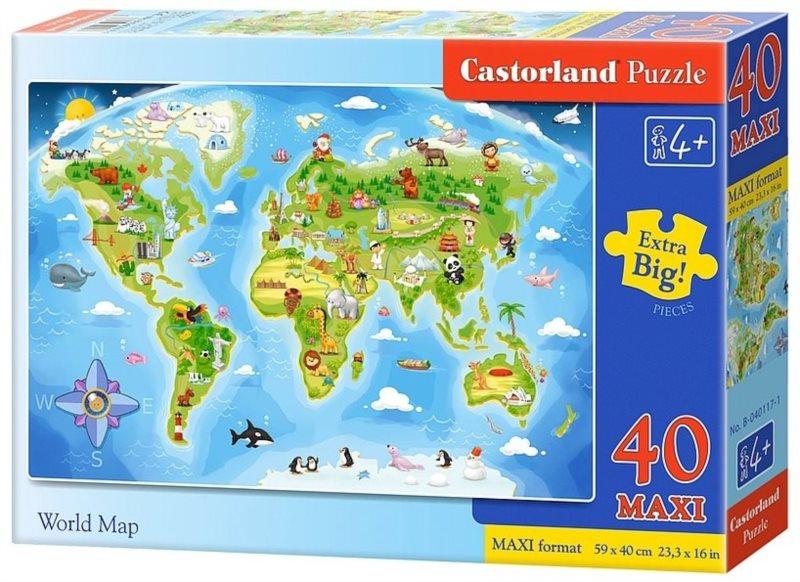 CASTORLAND Puzzle Obrázková mapa světa MAXI 40 dílků