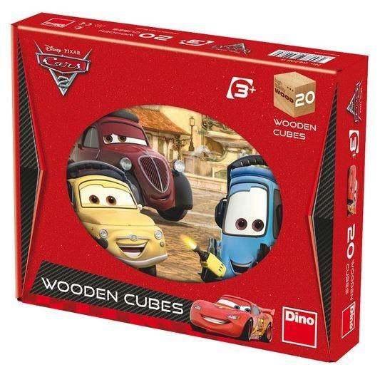 DINO Dětské dřevěné kostky - Auta 2 20 kostek