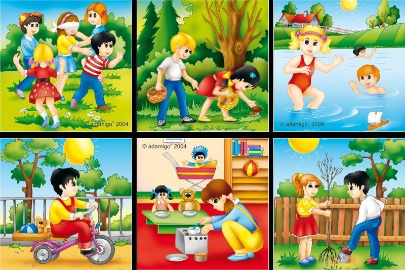 Dětské obrázkové kostky - Dětské hry 9 kostek