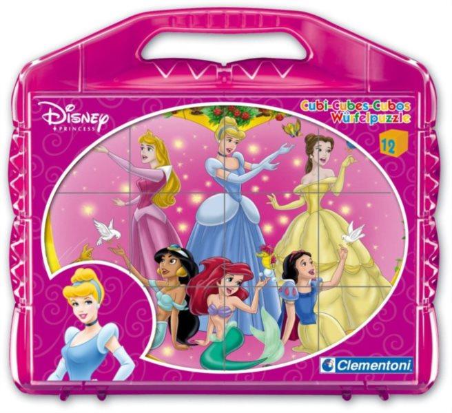 CLEMENTONI Dětské obrázkové kostky Disney Princezny 12 kostek