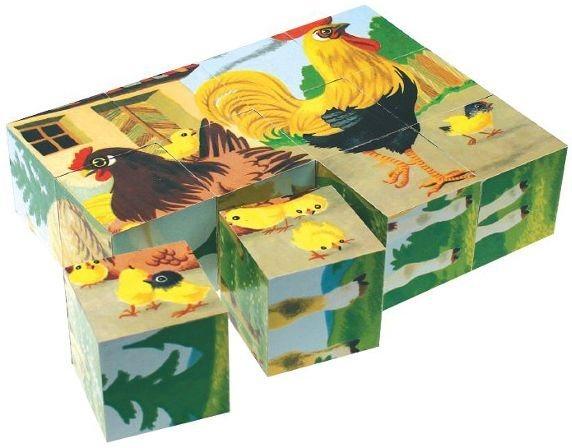 TOPA Obrázkové kostky Domácí zvířátka, 12 kostek