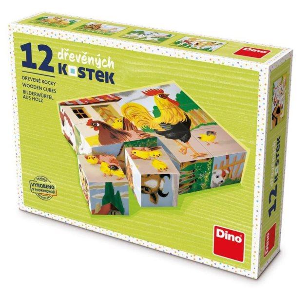 DINO Obrázkové kostky Domácí zvířátka, 12 kostek