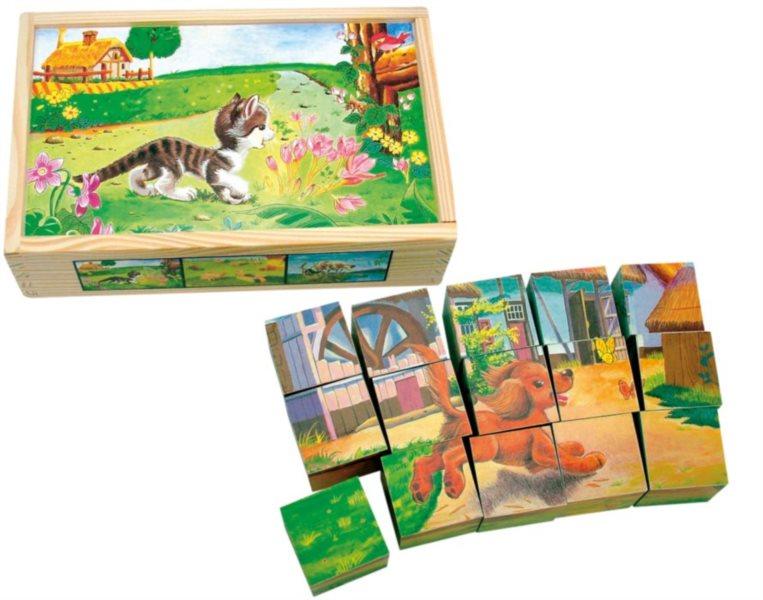Obrázkové kostky BINO 84175 Domácí zvířátka, 15 kostek - Dřevěné kostky pro děti