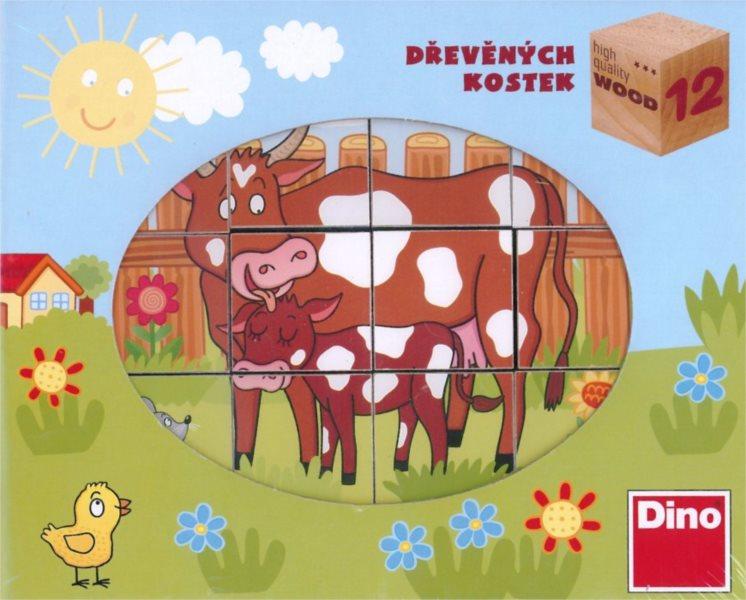 DINO Dětské dřevěné kostky Domácí zvířátka (12 kostek)