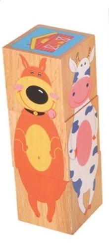 Dětské dřevěné kostky Domácí zvířátka 3 kostky