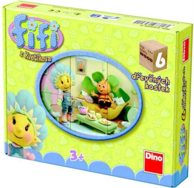 Dětské dřevěné kostky DINO - Fifi z Květíkova 6 kostek