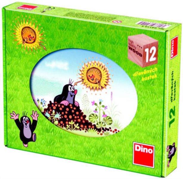 DINO Dětské dřevěné kostky Krtkův rok 12 kostek