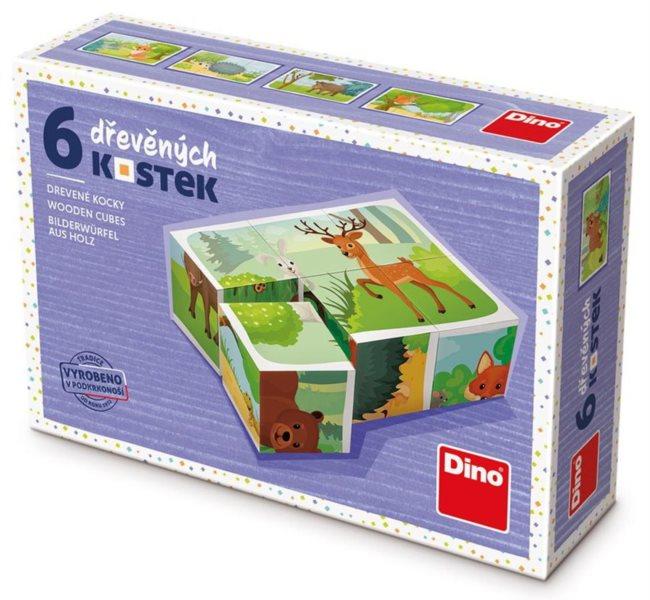 DINO Obrázkové kostky Lesní zvířátka, 6 kostek