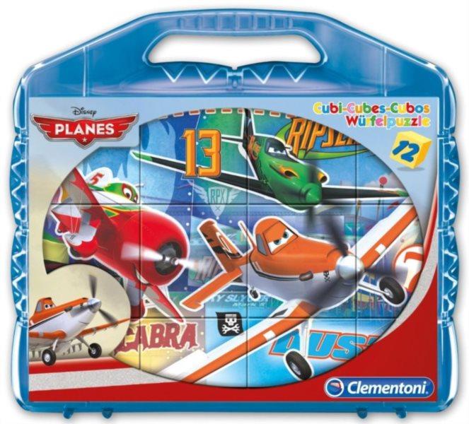 CLEMENTONI Dětské obrázkové kostky - Letadla 12 kostek