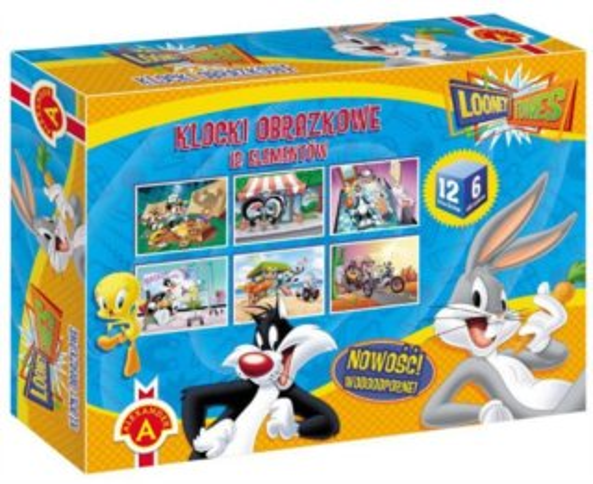 ALEXANDER Dětské obrázkové kostky Looney Tunes 12 kostek