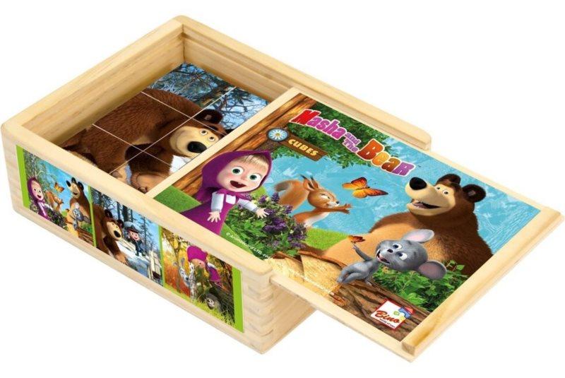 BINO Obrázkové kostky Máša a medvěd, 12 kostek