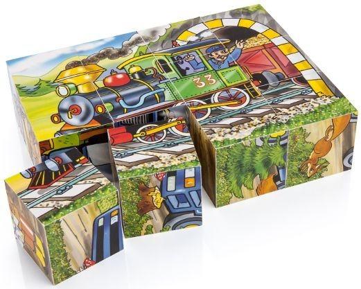 Dětské obrázkové kostky TOPA - Mašinka 12 kostek