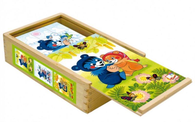 Obrázkové kostky BINO 13207 Medvídek Baribal, 15 kostek - Dřevěné kostky pro děti