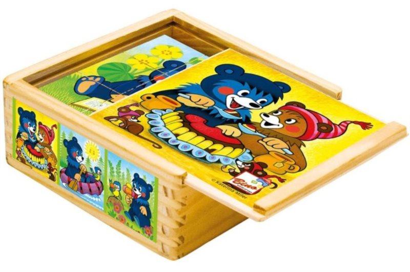 Obrázkové kostky BINO 13205 Medvídek Baribal, 9 kostek - Dřevěné kostky pro děti