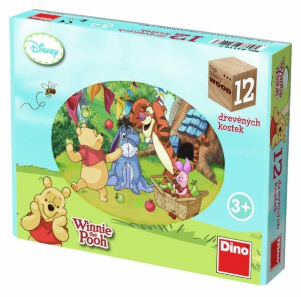 DINO Dětské dřevěné kostky Medvídek Pú 12 kostek