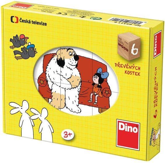 DINO Dětské dřevěné kostky - Pohádky 6 kostek